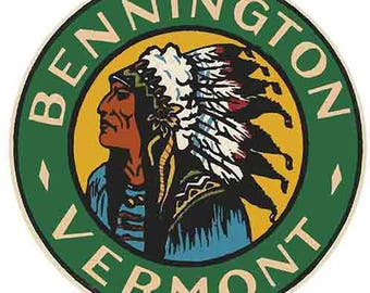 Vintage Style Bennington Vermont  VT New England   1950's    Travel Decal sticker