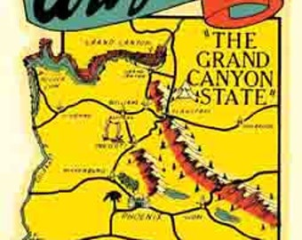 Vintage Style Arizona  map banner    1950's   Travel Decal sticker