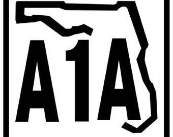 Vintage Style Highway A1A  Florida Jimmy Buffett  Travel Decal sticker