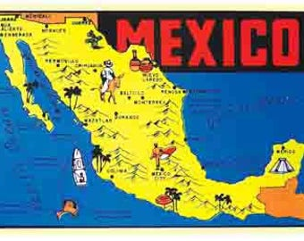 vintage style mexico map yucatan cozumel cancun travel decal sticker
