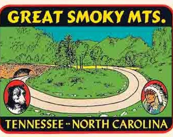Vintage Style Tennessee  NC Great Smoky Mountains  Travel Decal sticker