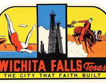 Vintage Style Wichita Falls TX   Texas Travel Decal sticker