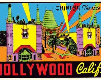 Vintage Style Chinese Theatre  Hollywood California    Travel Decal sticker