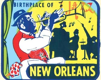 Vintage Style New Orleans Louisiana Jazz music  Bourbon Street Mardi Gras Travel Decal sticker