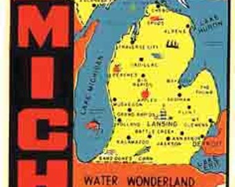 Vintage Style Water Wonderland Great Lakes  Michigan  1950's   Travel Decal sticker