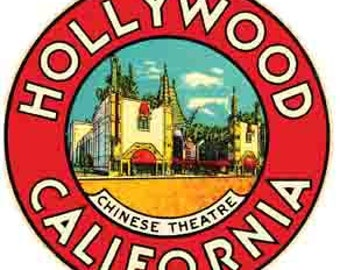 Vintage Style Hollywood California Chinese Theatre Travel Decal sticker