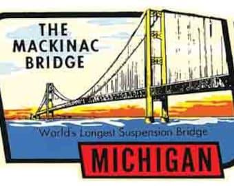 Vintage Style Mackinac Bridge Michigan  1950's   Travel Decal sticker
