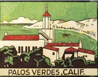 Vintage Style Palos Verdes  California   Travel Decal sticker