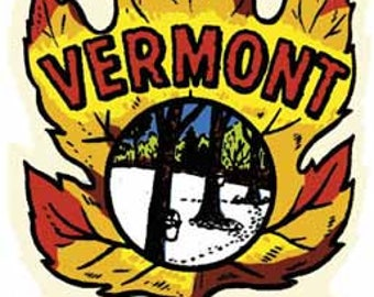 Vintage Style  Vermont  VT New England   1950's    Travel Decal sticker