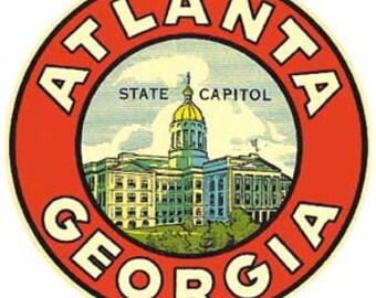 Vintage Style   1950's   Atlanta Georgia   GA  Travel Decal sticker