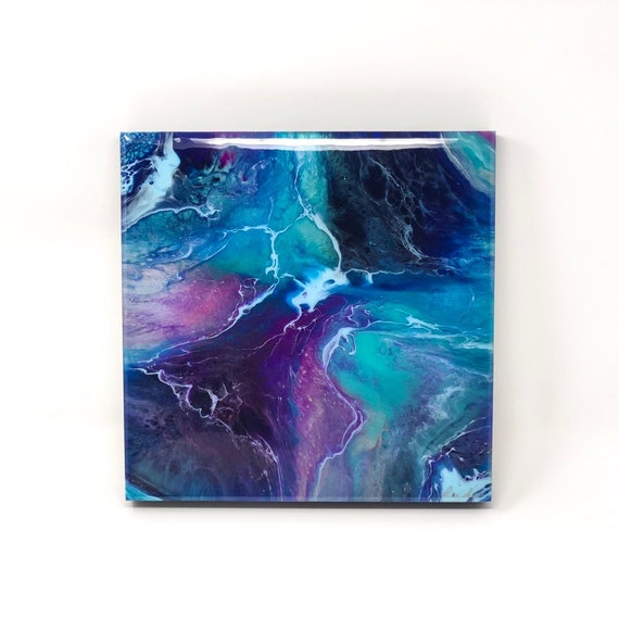 Blue Lightning Resin Art Abstract Painting Home Decor