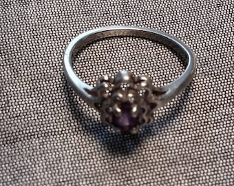 Sterling Silver Amethyst Solitaire Dome ring