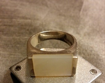 Simple, Stylish & Sophisticated Inlaid/Flush Mount Mother of Pearl Sterling Silver Ring