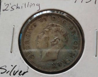 1939 Great Britain 2 Shilling Coin XF AU