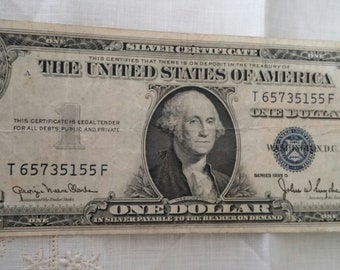 1935 D Circulated United States 1 Dollar Bill Silver Certificate Clarke Snyder Blue Seal Wide Version