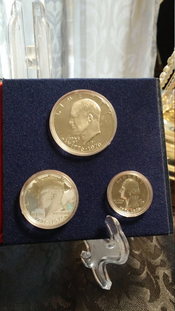 Proof 40/% Silver Three Piece 1776-1976 Commemorative Coin Set 1976 U.S