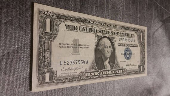 1957 United States 1 Dollar Bill Silver Certificate | Etsy