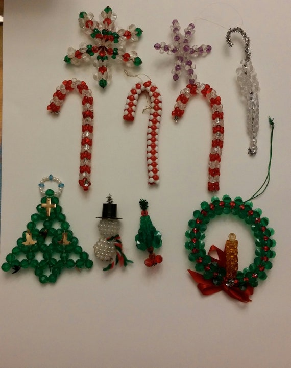 Beaded Christmas Ornaments.Assorted Vintage Handmade Beaded Christmas Ornaments