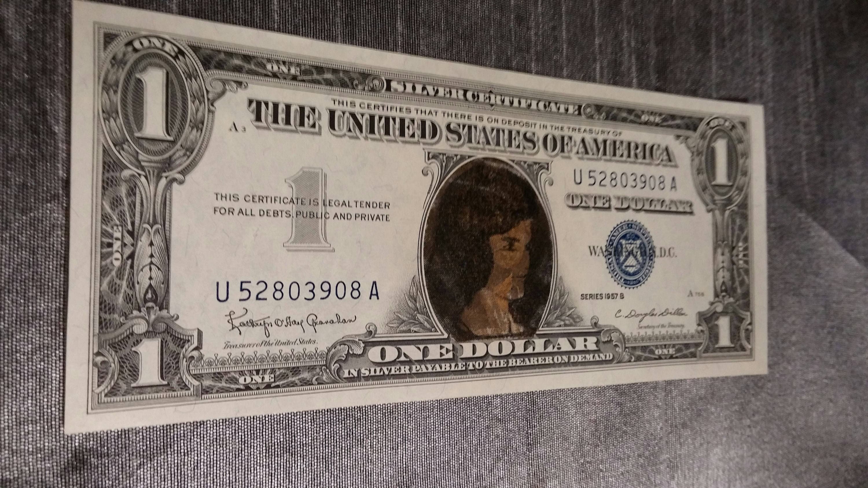 1957 B Blue Seal One Dollar Bill Silver Certificate Jackie Kennedy