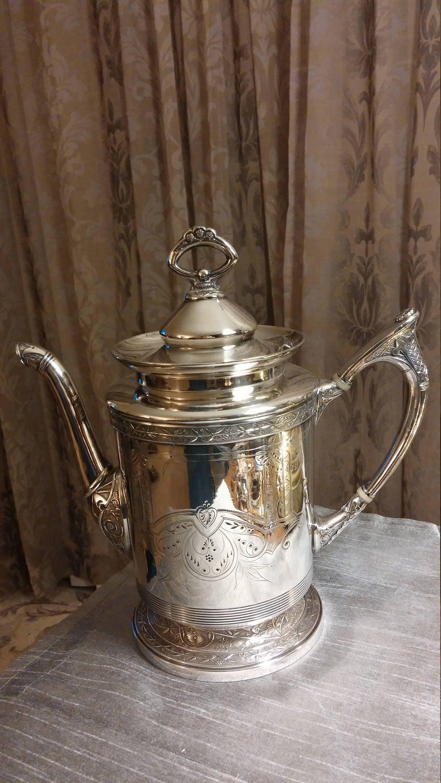 Circa Late 1800s Antique Derby Silver Company Quadruple Plated Coffee Tea Pot 1603