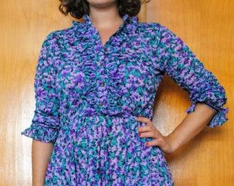 Beautiful Vintage Purple Floral Dress, vintage button up dress, vibrant feminine floral ruffle dress