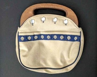 Canvas and Wooden Handle Purse, Seaside Seashell Clutch Bag