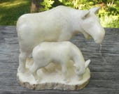 Moose Cow & Calf- Hand carved from MOOSE ANTLER- Moose shed- horn- figurine, carving, sculpture