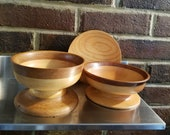 Handmade wood bowls & small plate.  Decorative pedestal  bowls, small serving bowls, camp kitchen, farmhouse kitchen,