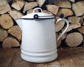 Vintage LARGE White & Blue ENAMEL Ware Cowboy Campfire Coffee Pot tea KETTLE boiler humidifier - cabin kitchen farmhouse decor
