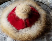 FOX FUR HAT. Real Fur Hat. Genuine Red Fox. Red velvet. Fur pom pom. Women's S/M. Winter hat.