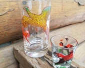 2 Pheasant Cocktail Glasss -Whiskey hi-ball Tumbler & shot glass.  Hunting Birds, fowl- Drinking Glass - vintage bar ware - bright colors