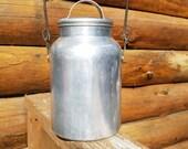 Vintage Aluminium Cream / Milk Pail Wear-Ever With Lid & Handle - camp kitchen, vintage kitchen decor,