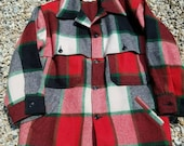 Vintage BEMIDJI Thick 100% Wool Plaid Coat/Jacket- Red, Green, Ivory, Black Sz. 50 XL/ USA/ Christmas/Retro, rugged, logger, woodsman