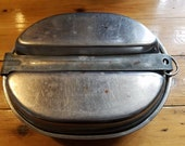 MESS Kit 1944 USA Military Metal US M.A. Co. Vintage WWll  Camping Dish, pot, pan, double boiler, fork