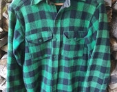 Vintage LL Bean 100% WOOL Shirt /Jacket/ coat USA, unisex. Green, black Buffalo Plaid.  Button down. Retro, rugged, logger, woodsman