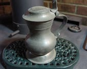 "ANTIQUE PEWTER tankard/ Flagon/ small Pitcher- Hinged Lid- Marked ONDO.  6.5"" tall"