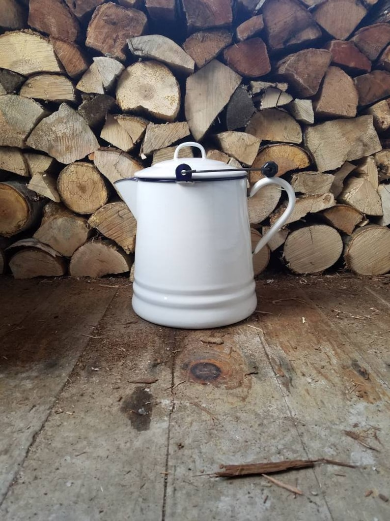 Vintage LARGE White & Blue ENAMEL Ware Cowboy Campfire Coffee image 0
