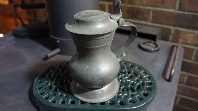 ANTIQUE PEWTER tankard/ Flagon/ small Pitcher Hinged Lid image 0