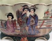 Vintage Royal Satsuma Japan Vase with hand painted raised beads Geisha gilding