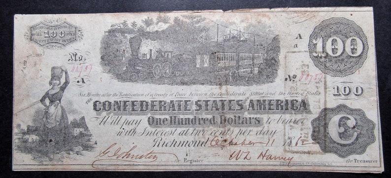 1862 Confederate States of America- 100 Dollar Bill- Old Civil War Era  Paper Money