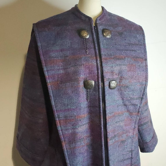 Vintage 80s Southwest Long Wool Coat Purple Blanke