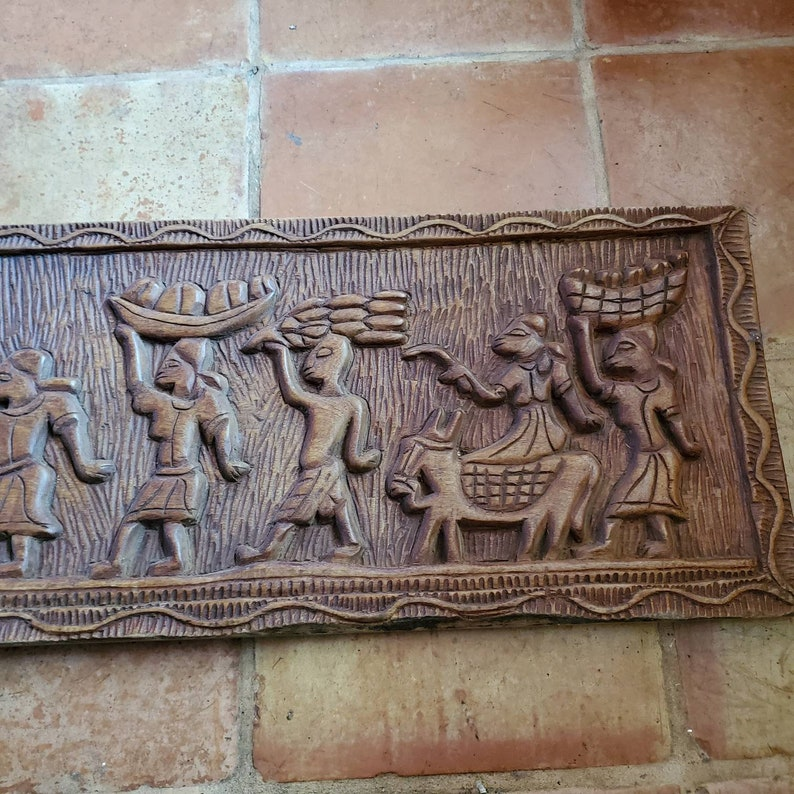 Vintage African Relief Carved Wood Panel Village Market People Donkey 40 x 13