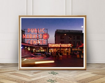 Seattle Photography, Pike Place Market, Instant Photo Download, Downtown Seattle, Washington, City Print, Gum Wall