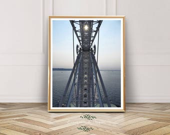 Seattle Great Wheel, Pike Place Market, Seattle Ferris Wheel,Seattle Seascape, Ocean Print, Elliott Bay, Pier 57, Instant Download, Photo