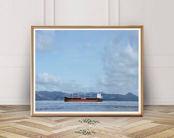 Boat Print, Ocean Art Print, Ocean Print, Boat, Digital Wall Art, Clipper, Printable Art, Blue, Red, Cloud, Mountains