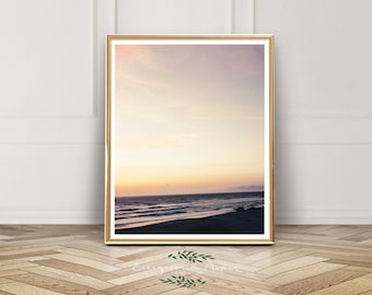 Oregon Beach, Ocean, Sunset, Beach, Digital Download, Fall, Leaves, Modern Art,Pacific Northwest, Bohemian Art