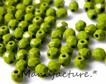 3mm (200pc) dark olivine, Czech glass faceted beads