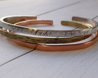 Mixed Metals Teensy Bangles - set of 3