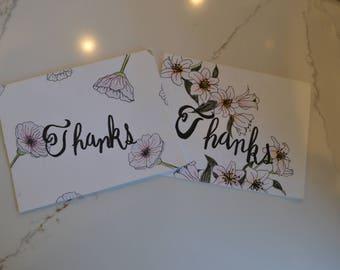 Floral 'Thanks' Cards - Set of 2