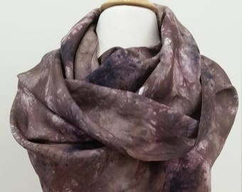 Hand Dyed Silk Infinity Scarf/Wrap in Browns, Plum with Expresso splashes, Hand-Painted Scarf, Gift for Her, Woman Anniversary,MADE to ORDER